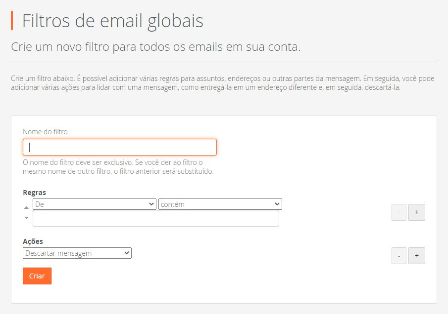 E-mail corporativo - Filtro Global