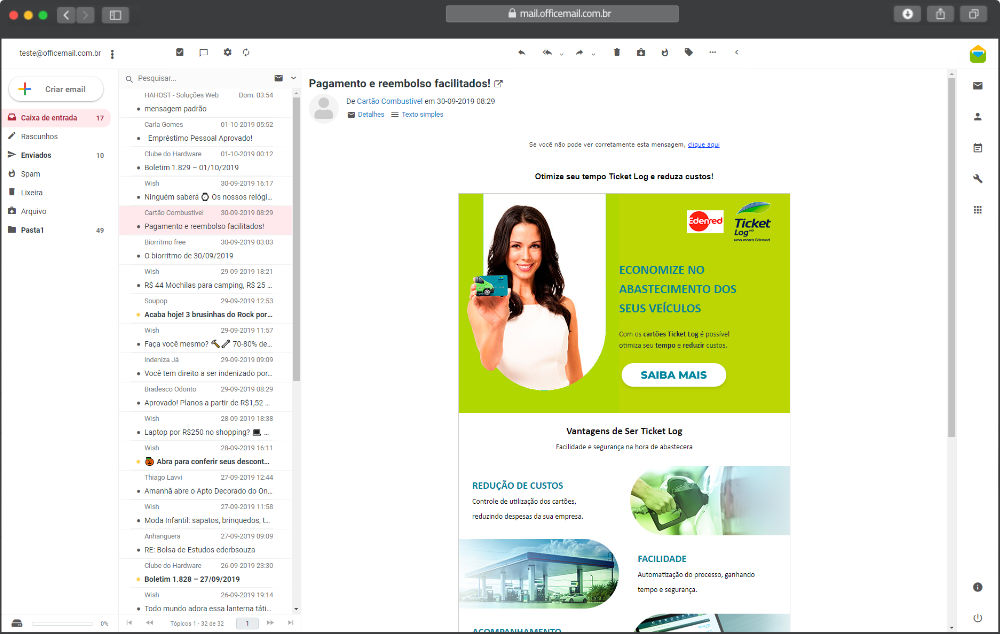 E-Mail Corporativo webmail layout gmail