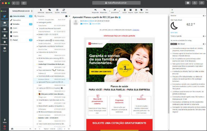 E-Mail Corporativo webmail layout elastic
